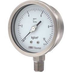 Baumer - Pressure Gauge (0 to 10 kg/cm2) (All SS Bourdon Type ) + Free Calibration Certificate