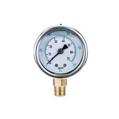 "SUZHIK-PRESSURE GAUGE (2KG TO 70KG) (BACK BRACKET MOUNTING (SS RING), 2"" DIA, MS, 1/4"" BSP)"
