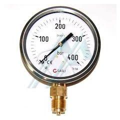 "SUZHIK-Pressure Gauge (100KG TO 400KG) (Back Paneldirect Mounting, 2.1/2"" DIA, MS, 1/4"" BSP) +free calibration certificate"